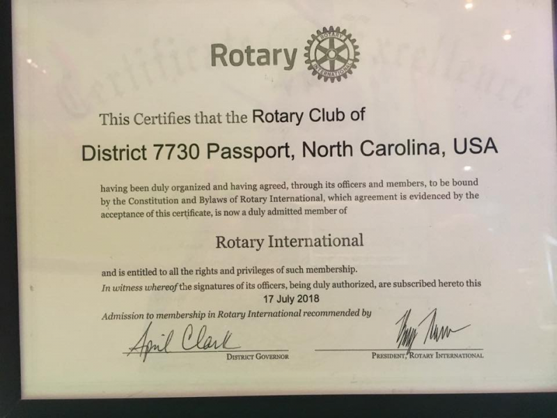 Rotary Club of District 7730 Passport Charter Certification